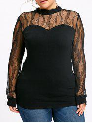 Plus Size Mock Neck Sheer Top -