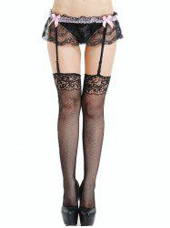 Lace Skirted Fishnet Stockings with Garter Belt -