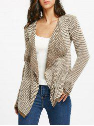 Collarless Long Sleeve Knitted Drape Front Cardigan -