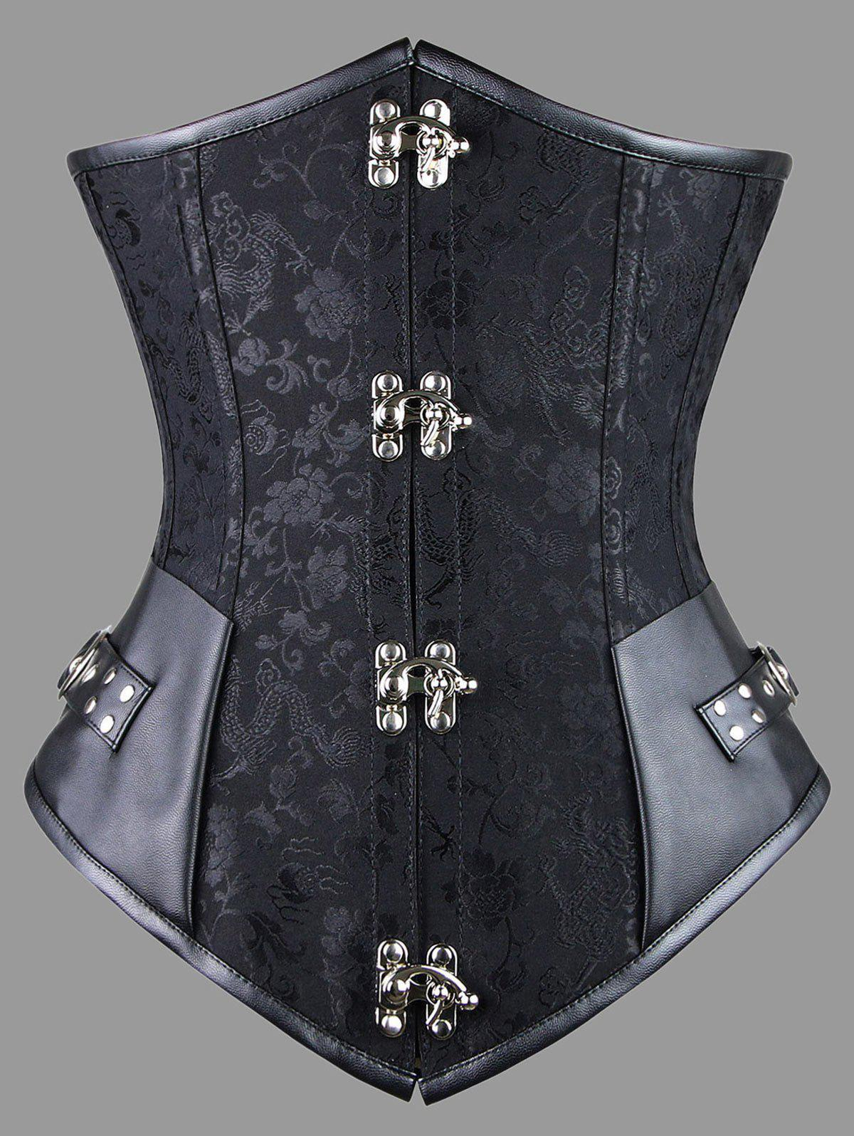 Faux Leather Panel Plus Size Lace-up CorsetWOMEN<br><br>Size: 6XL; Color: BLACK; Material: Polyester; Pattern Type: Solid; Embellishment: Criss-Cross; Weight: 0.5200kg; Package Contents: 1 x Corset  1 x T Back;