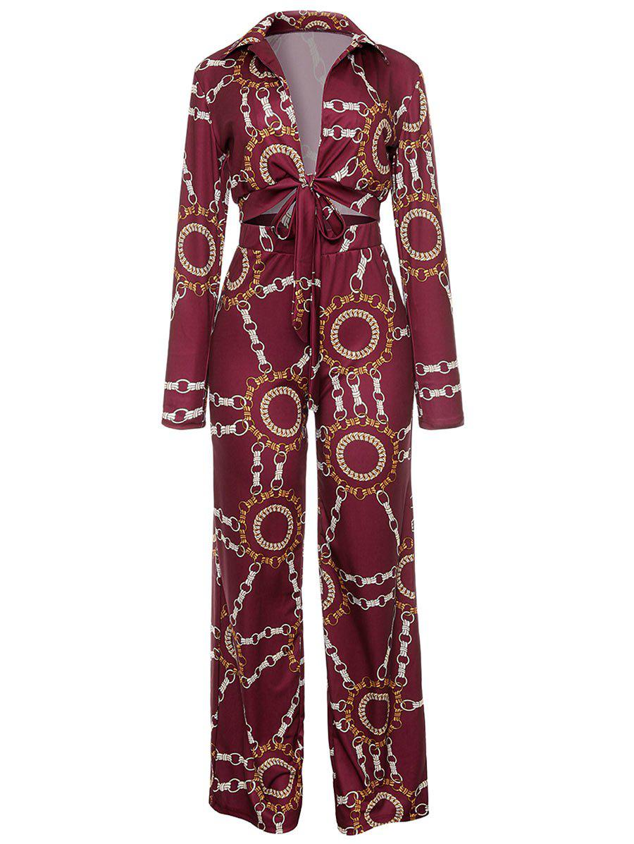 Affordable Metal Chain Print Plunging Neck Jumpsuit