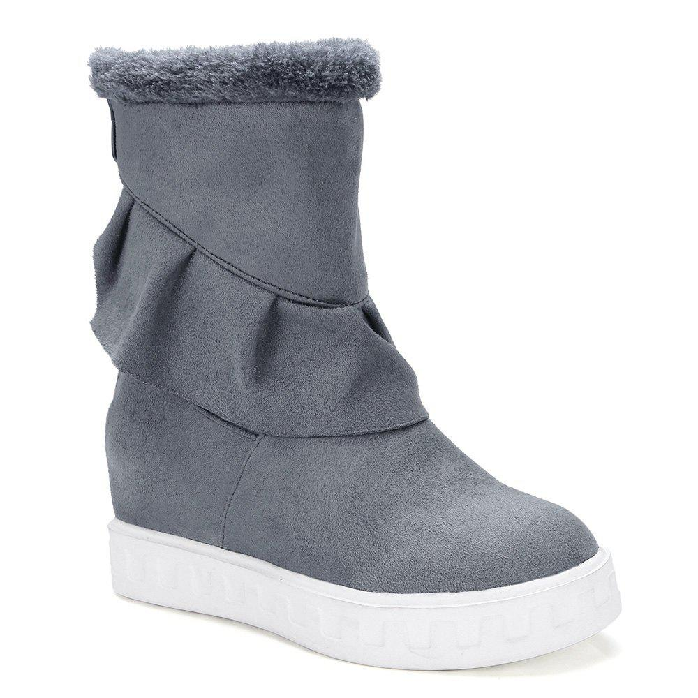 Fancy Ruched Suede Slip On Boots