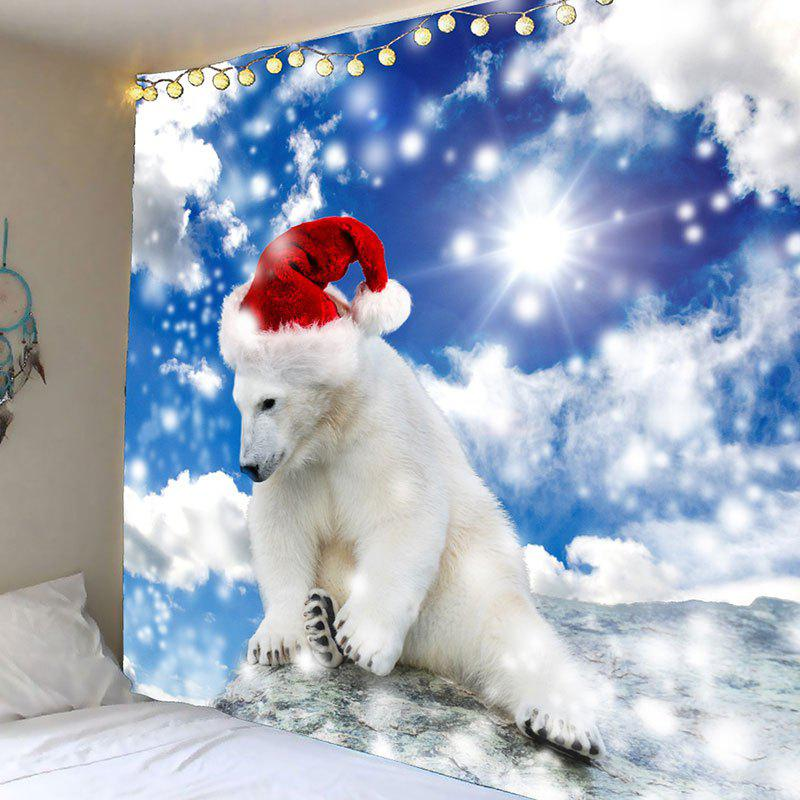 Waterproof Christmas Polar Bear Printed Wall TapestryHOME<br><br>Size: W59 INCH * L59 INCH; Color: BLUE AND WHITE; Style: Festival; Theme: Christmas; Material: Velvet; Feature: Removable,Washable,Waterproof; Shape/Pattern: Animal; Weight: 0.2600kg; Package Contents: 1 x Tapestry;