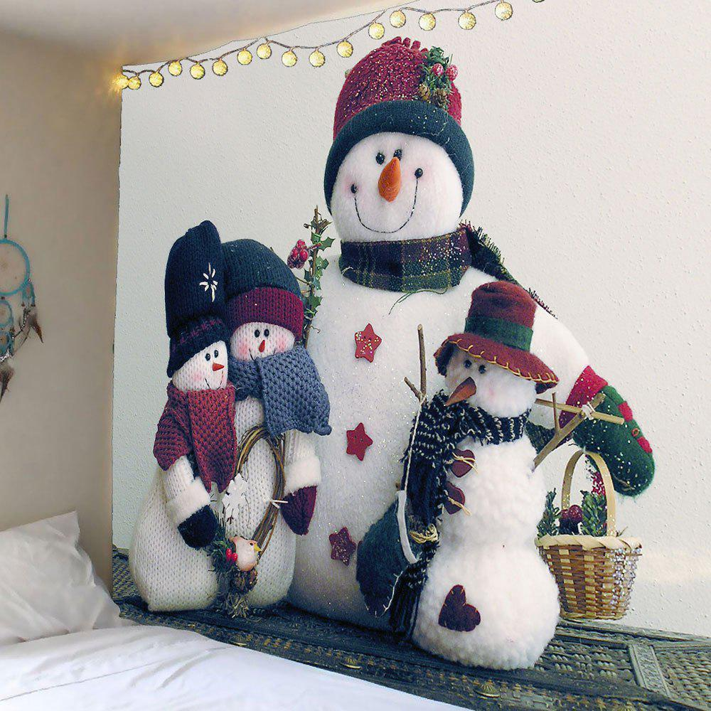 Waterproof Snowman Family Printed Wall TapestryHOME<br><br>Size: W71 INCH * L71 INCH; Color: COLORMIX; Style: Festival; Theme: Christmas; Material: Velvet; Feature: Removable,Washable,Waterproof; Shape/Pattern: Snowman; Weight: 0.3600kg; Package Contents: 1 x Tapestry;