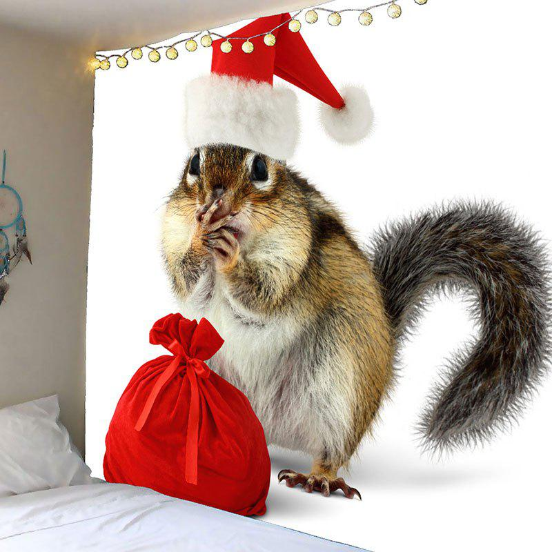 Waterproof Christmas Squirrel Printed Wall TapestryHOME<br><br>Size: W79 INCH * L79 INCH; Color: COLORMIX; Style: Festival; Theme: Christmas; Material: Velvet; Feature: Removable,Washable,Waterproof; Shape/Pattern: Animal; Weight: 0.4200kg; Package Contents: 1 x Tapestry;