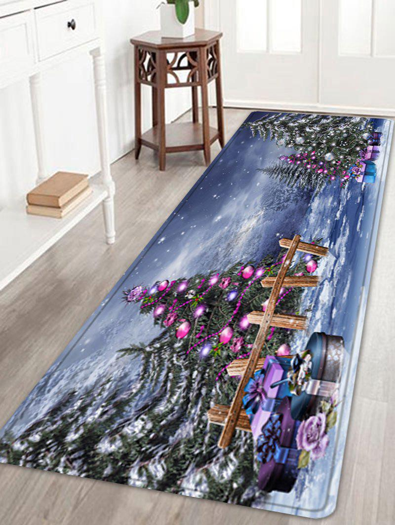 Christmas Trees Gifts Pattern Anti-skid Water Absorption Area RugHOME<br><br>Size: W24 INCH * L71 INCH; Color: COLORMIX; Products Type: Bath rugs; Materials: Flannel; Pattern: Christmas Tree,Gift; Style: Festival; Shape: Rectangle; Package Contents: 1 x Rug;