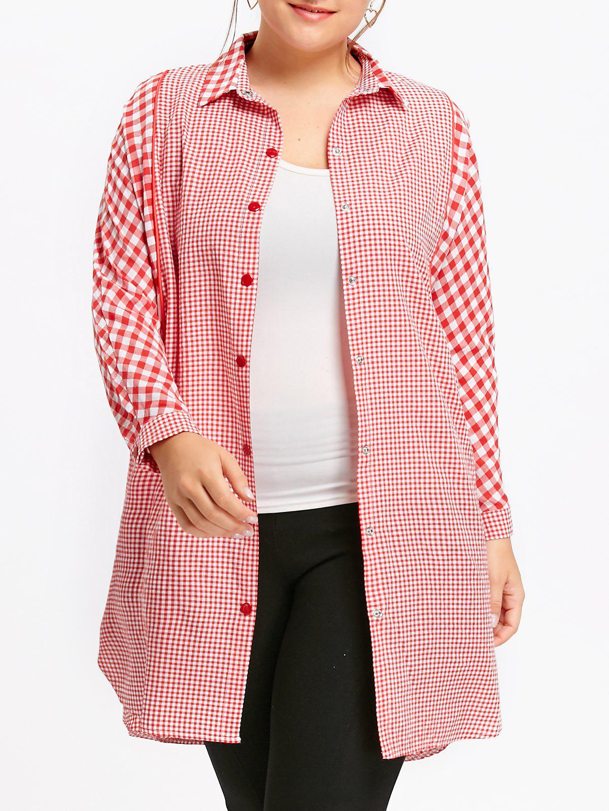 Long Plus Size Plaid Tunic ShirtWOMEN<br><br>Size: 5XL; Color: RED; Material: Cotton Blends,Polyester; Shirt Length: Long; Sleeve Length: Full; Collar: Shirt Collar; Style: Fashion; Season: Fall,Winter; Sleeve Type: Batwing Sleeve; Embellishment: Button; Pattern Type: Plaid; Weight: 0.3300kg; Package Contents: 1 x Shirt;