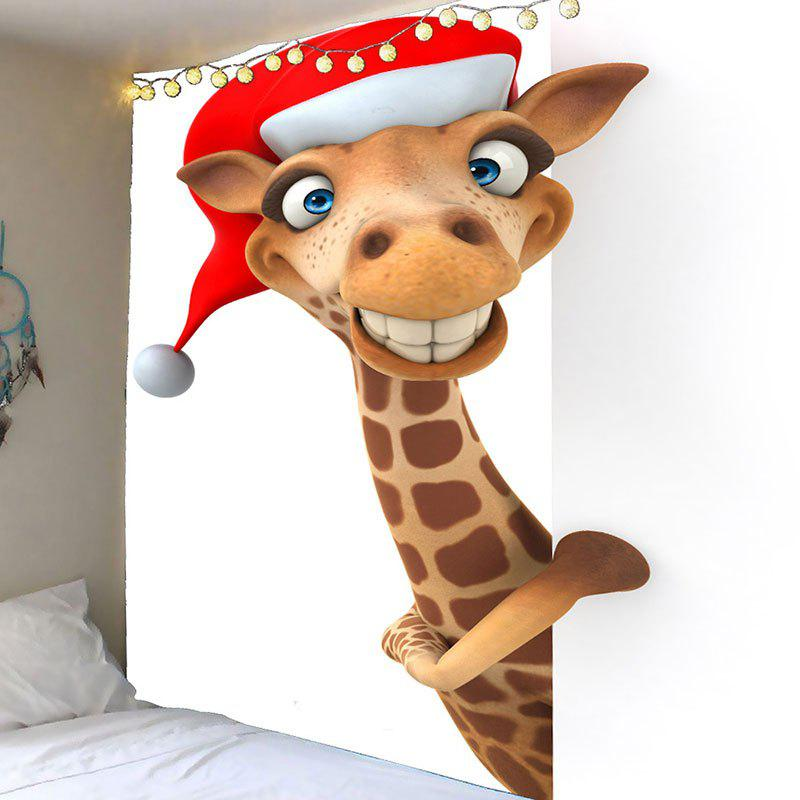 Waterproof Christmas Giraffe Printed Wall TapestryHOME<br><br>Size: W59 INCH * L51 INCH; Color: BROWN; Style: Festival; Theme: Christmas; Material: Velvet; Feature: Removable,Washable,Waterproof; Shape/Pattern: Animal; Weight: 0.2100kg; Package Contents: 1 x Tapestry;