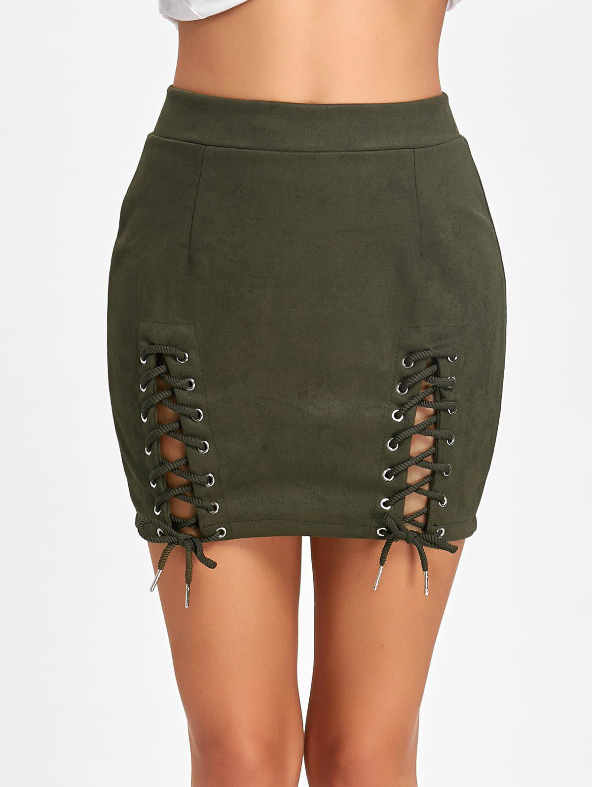 Affordable Lace Up Faux Suede Mini Skirt