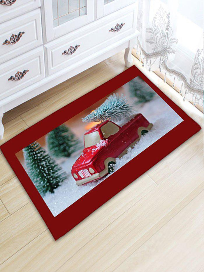 Car and Tree Print Skidproof Flannel Christmas Bath MatHOME<br><br>Size: W20 INCH * L31.5 INCH; Color: RED; Products Type: Bath rugs; Materials: Flannel; Style: Festival; Shape: Rectangular; Package Contents: 1 x Rug;