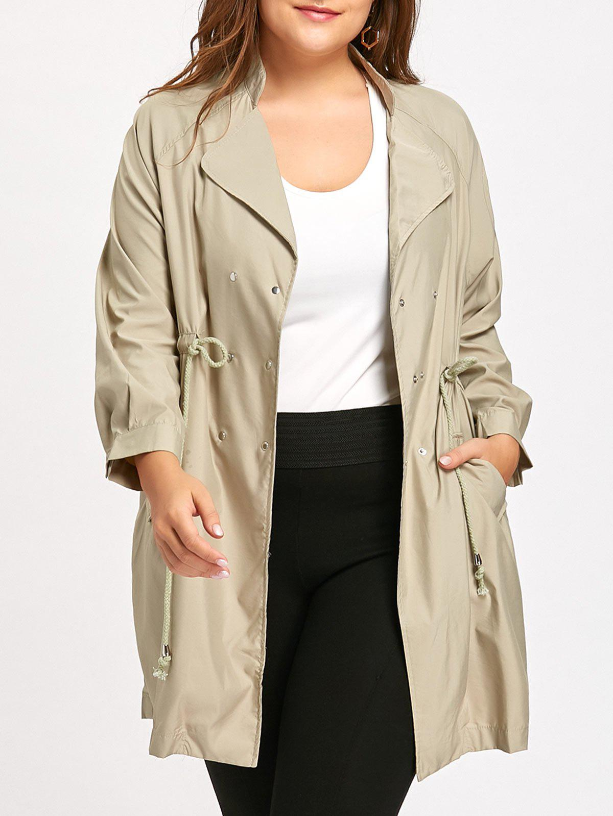 Drawstring High Waist Double Breasted Trench CoatWOMEN<br><br>Size: 3XL; Color: APRICOT; Clothes Type: Trench; Material: Polyester; Type: High Waist; Shirt Length: Long; Sleeve Length: Full; Collar: Lapel; Pattern Type: Solid; Style: Fashion; Season: Fall,Winter; Weight: 0.4100kg; Package Contents: 1 x Coat;