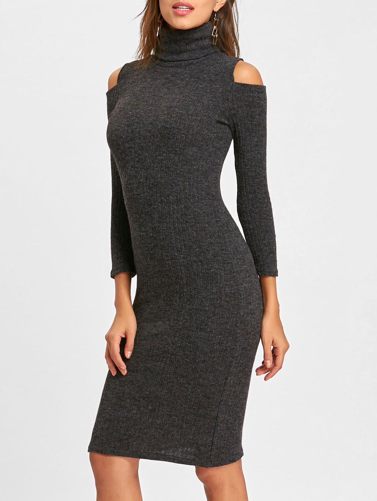 Cheap Cold Shoulder Bodycon Midi Sweater Dress