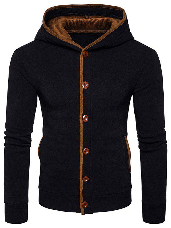 Fashion Button Up Suede Panel Elbow Patch Hoodie