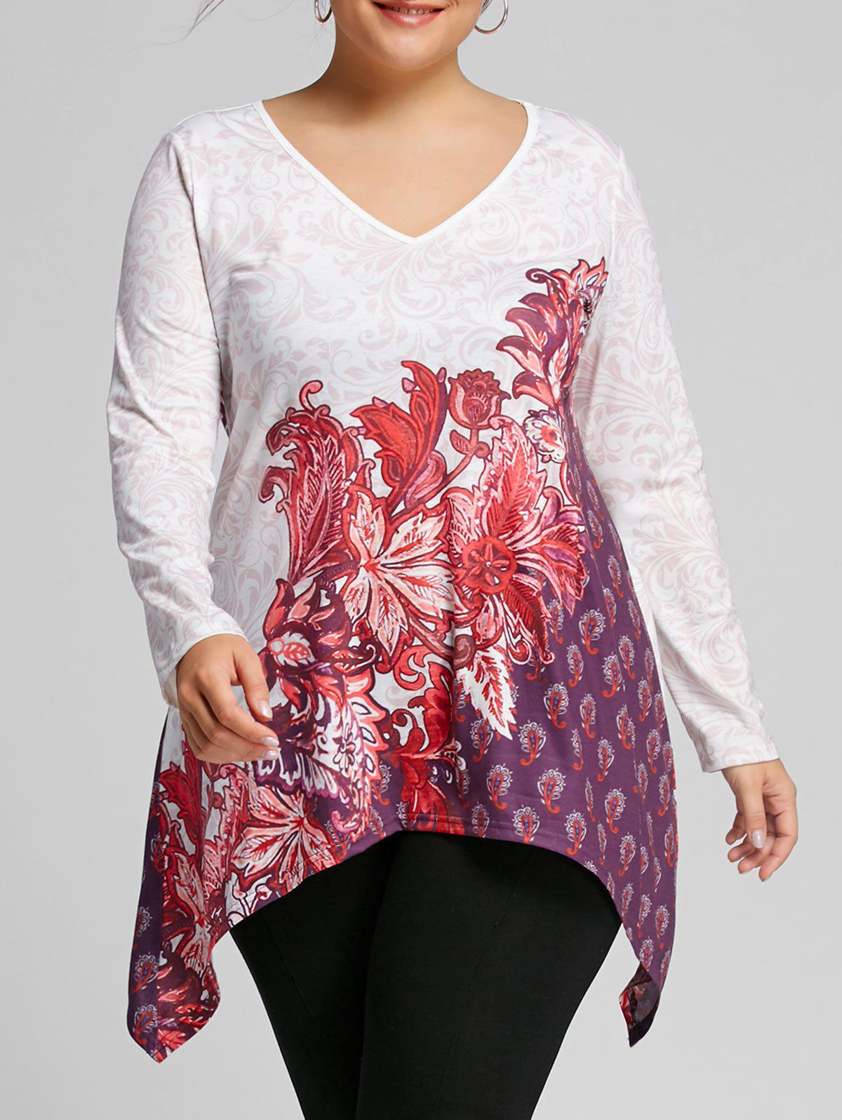 Chic Plus Size Bandana Floral V Neck Tee