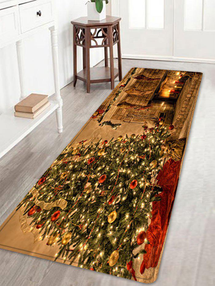 Christmas Tree Fireplace Pattern Anti-skid Water Absorbing Area RugHOME<br><br>Size: W16 INCH * L47 INCH; Color: COLORMIX; Products Type: Bath rugs; Materials: Flannel; Pattern: Christmas Tree; Style: Festival; Shape: Rectangle; Package Contents: 1 x Rug;