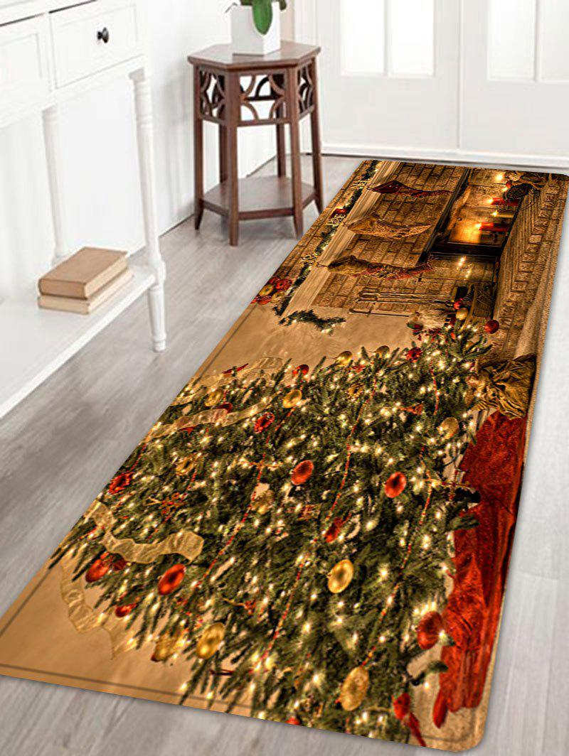 Christmas Tree Fireplace Pattern Anti-skid Water Absorbing Area RugHOME<br><br>Size: W24 INCH * L71 INCH; Color: COLORMIX; Products Type: Bath rugs; Materials: Flannel; Pattern: Christmas Tree; Style: Festival; Shape: Rectangle; Package Contents: 1 x Rug;