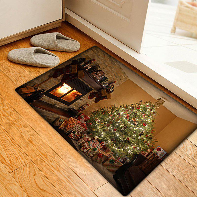 Christmas Tree Fireplace Pattern Anti-skid Water Absorbing Area RugHOME<br><br>Size: W20 INCH * L31.5 INCH; Color: COLORMIX; Products Type: Bath rugs; Materials: Flannel; Pattern: Christmas Tree,Gift; Style: Festival; Shape: Rectangle; Package Contents: 1 x Rug;