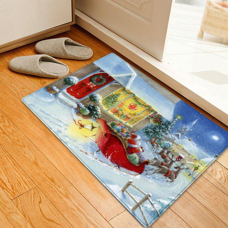 Christmas Village Sleigh Pattern Anti-skid Water Absorption Area RugHOME<br><br>Size: W20 INCH * L31.5 INCH; Color: COLORMIX; Products Type: Bath rugs; Materials: Flannel; Pattern: Animal,Santa Claus; Style: Festival; Shape: Rectangle; Package Contents: 1 x Rug;