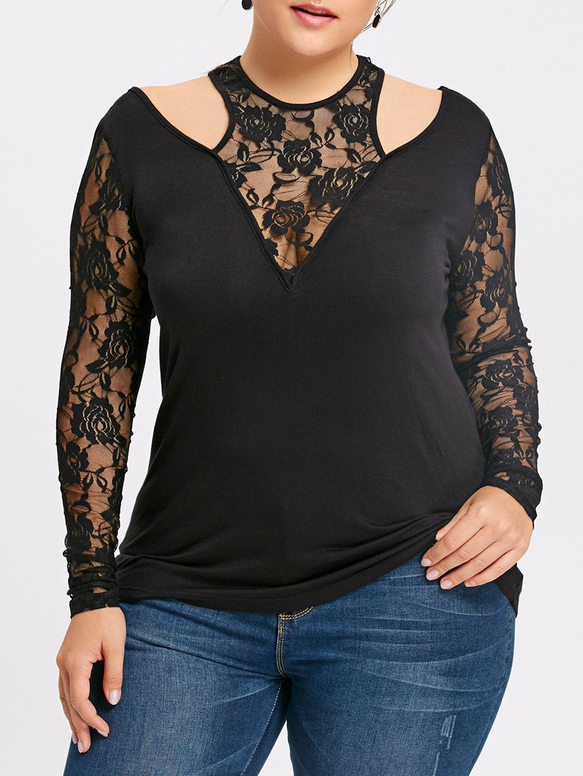 New Plus Size Lace Trim Cut Out Top