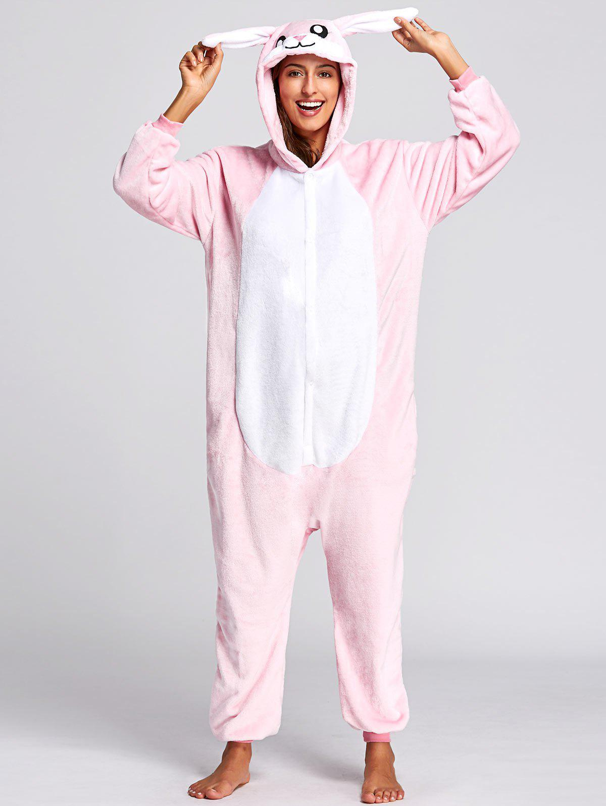 Cute Rabbit Animal Onesie Pjs CostumeWOMEN<br><br>Size: M; Color: PINK; Material: Polyester; Fabric Type: Fleece; Pattern Type: Animal; Weight: 0.5000kg; Package Contents: 1 x Pajama;