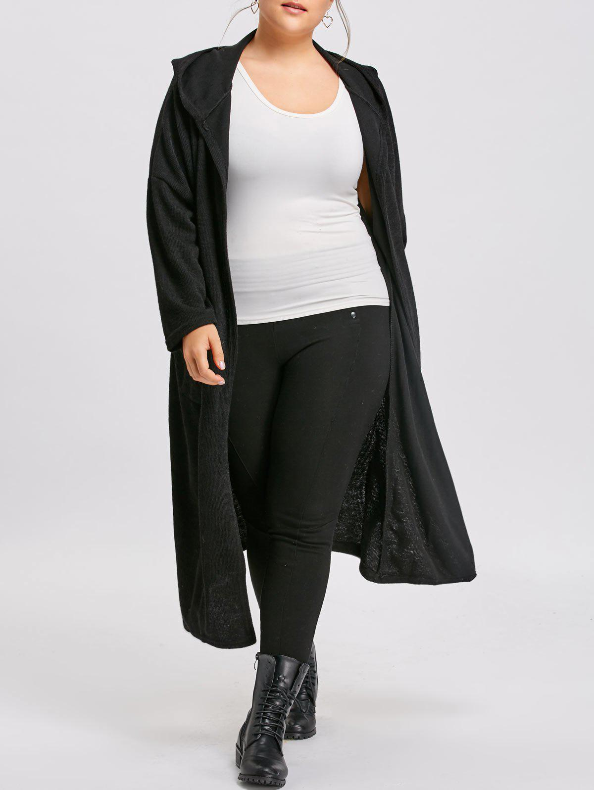 Pockets Plus Size Long Hooded CoatWOMEN<br><br>Size: XL; Color: BLACK; Clothes Type: Trench; Material: Cotton Blends,Polyester; Type: Slim; Shirt Length: Long; Sleeve Length: Full; Collar: Hooded; Pattern Type: Solid; Embellishment: Front Pocket; Style: Fashion; Season: Fall,Winter; Weight: 0.8000kg; Package Contents: 1 x Coat;