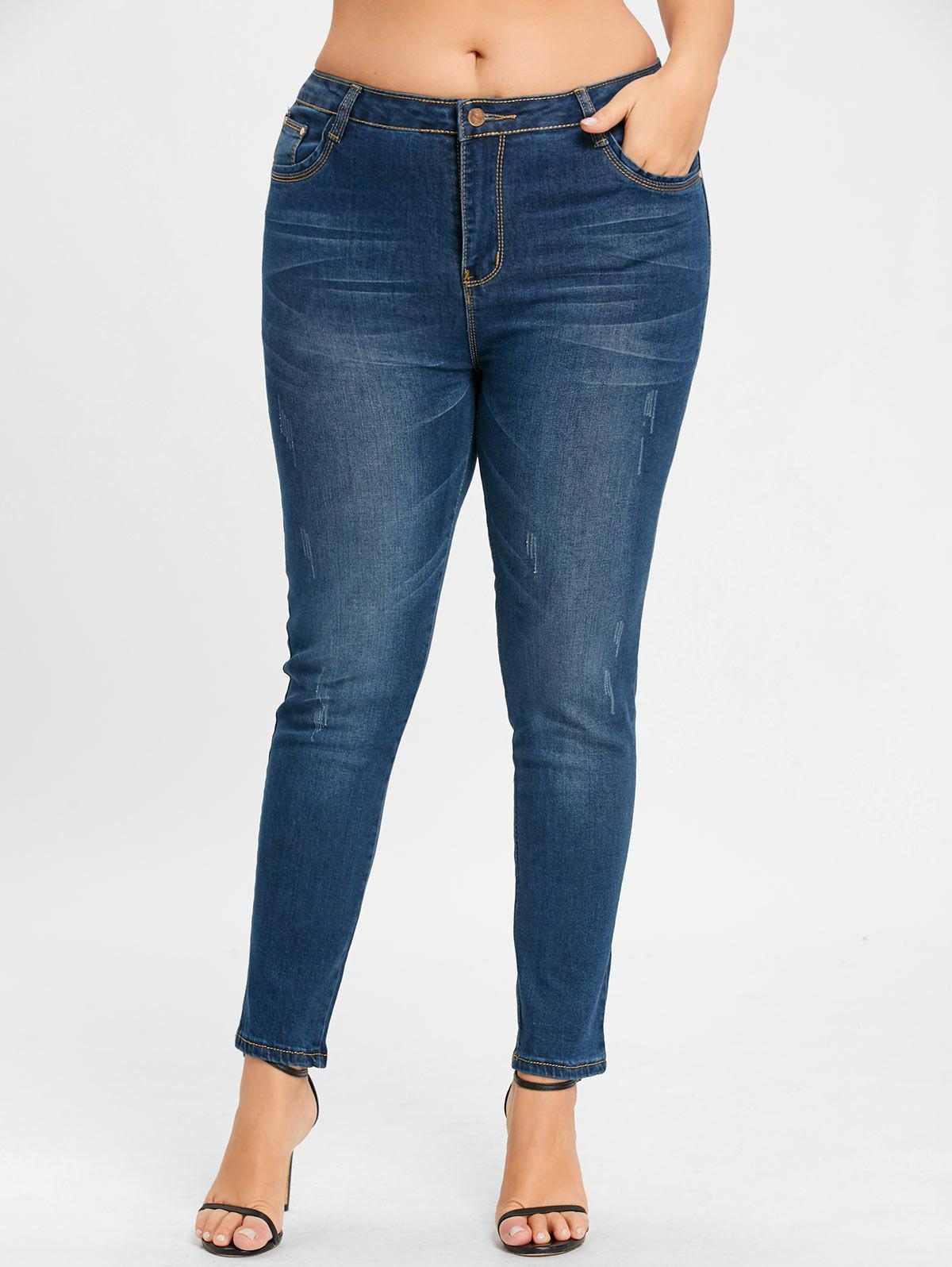 Plus Size Zipper Light Wash JeansWOMEN<br><br>Size: 6XL; Color: BLUE; Style: Fashion; Length: Normal; Material: Polyester; Fit Type: Skinny; Waist Type: Mid; Closure Type: Zipper Fly; Pattern Type: Solid; Pant Style: Pencil Pants; With Belt: No; Weight: 0.6500kg; Package Contents: 1 x Jeans;