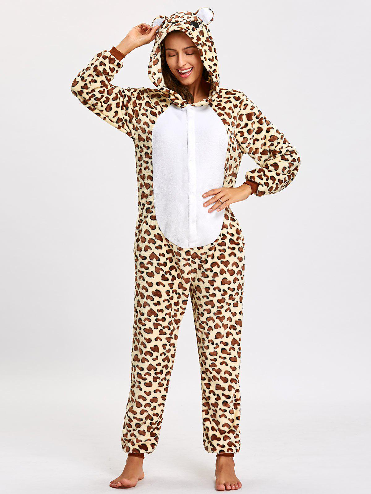 Sale Fleece Leopard Bear Animal Onesie Pjs
