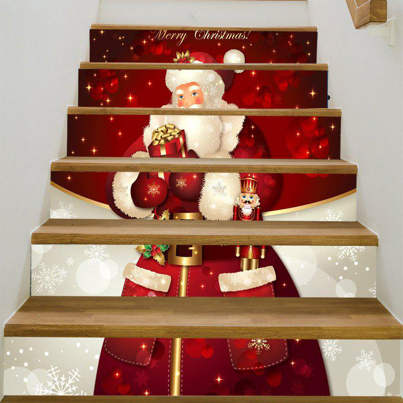 Santa Claus Printed Stair StickersHOME<br><br>Size: 100*18CM*6PCS; Color: RED AND WHITE; Wall Sticker Type: 3D Wall Stickers; Functions: Stair Stickers; Theme: Christmas; Pattern Type: 3D,Santa Claus,Snowflake; Material: PVC; Feature: Removable; Weight: 0.3100kg; Package Contents: 6 x Stair Stickers (Pcs);