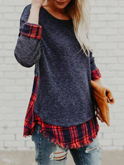 Outfits Frayed Hem Plaid Panel Tunic Top