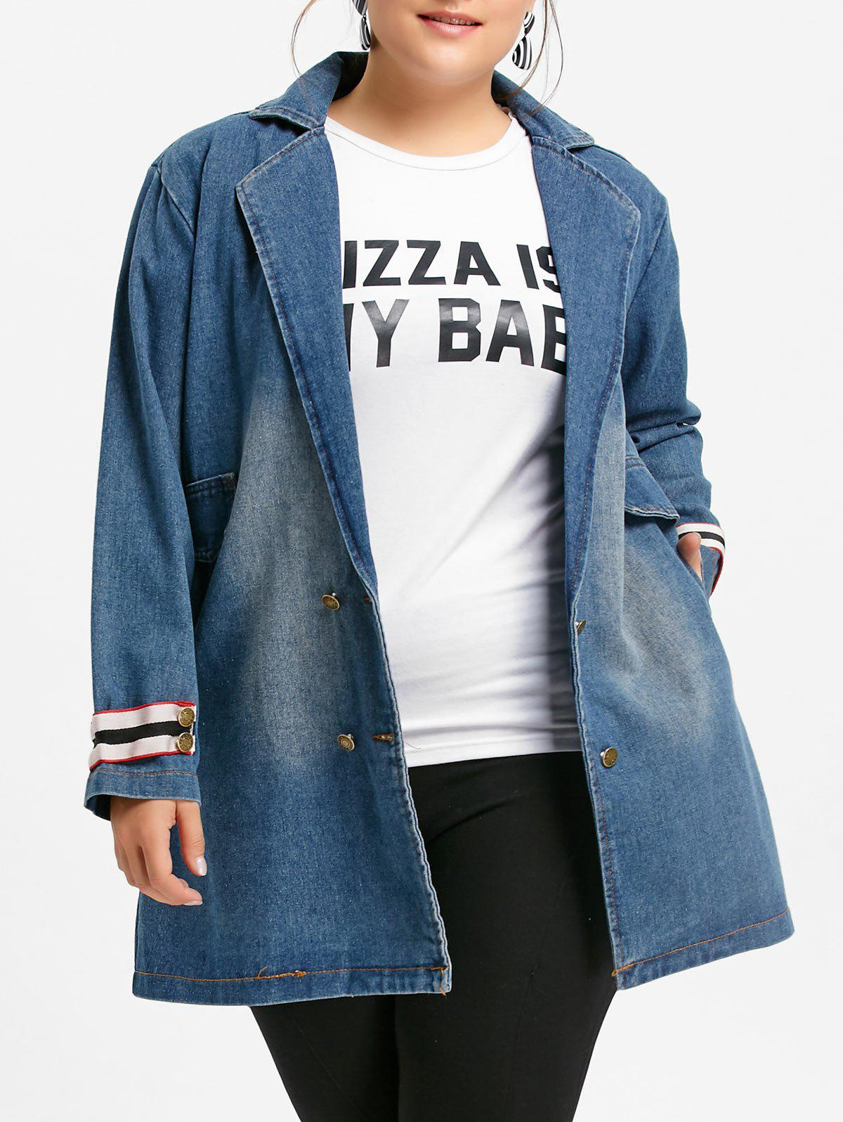 Shops Plus Size Long Lapel Collar Denim Coat