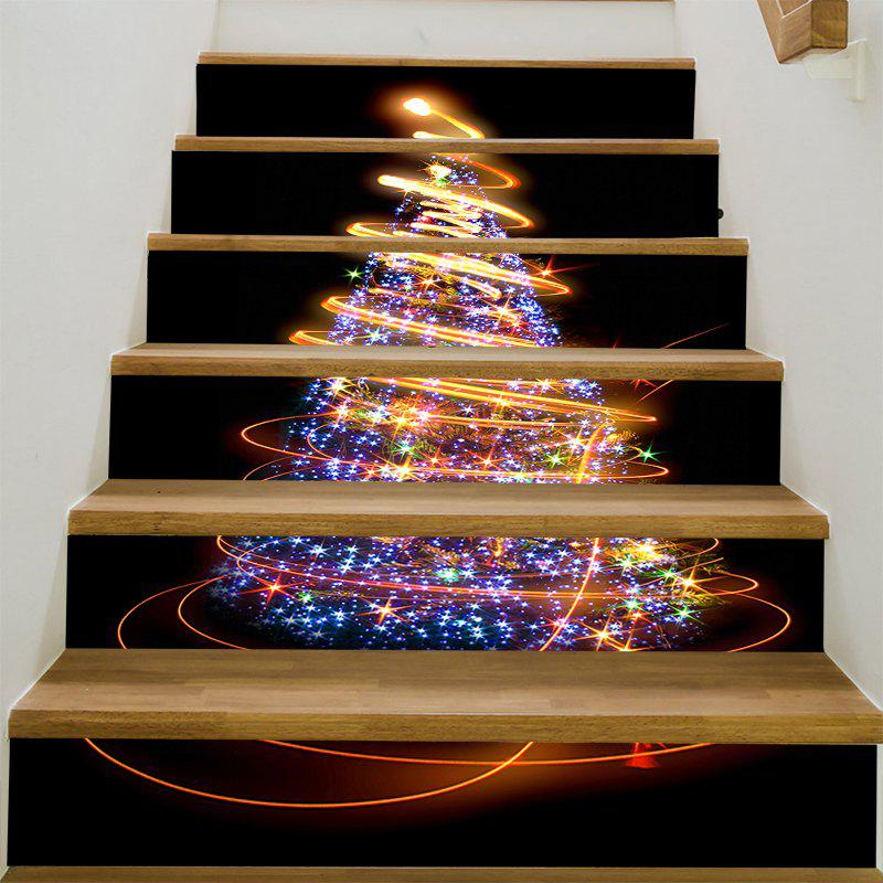 Christmas Stars Tree Fantasy Stair StickersHOME<br><br>Size: 100*18CM*6PCS; Color: COLORFUL; Wall Sticker Type: Plane Wall Stickers; Functions: Stair Stickers; Pattern Type: Christmas Tree,Star; Material: PVC; Feature: Removable; Length: 100cm; Width: 18cm; Weight: 0.3100kg; Package Contents: 1 x Stair Stickers (Set);