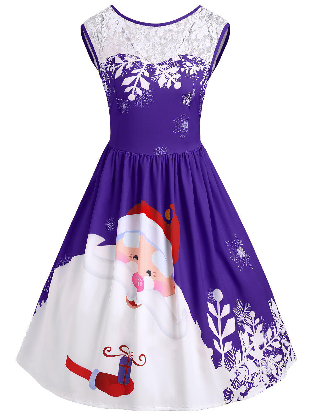 Christmas Santa Claus Print Lace Insert Party DressWOMEN<br><br>Size: 2XL; Color: PURPLE; Style: Vintage; Material: Polyester,Spandex; Silhouette: A-Line; Dresses Length: Knee-Length; Neckline: Round Collar; Sleeve Length: Sleeveless; Pattern Type: Patchwork,Print; With Belt: No; Season: Fall,Spring; Weight: 0.3500kg; Package Contents: 1 x Dress;