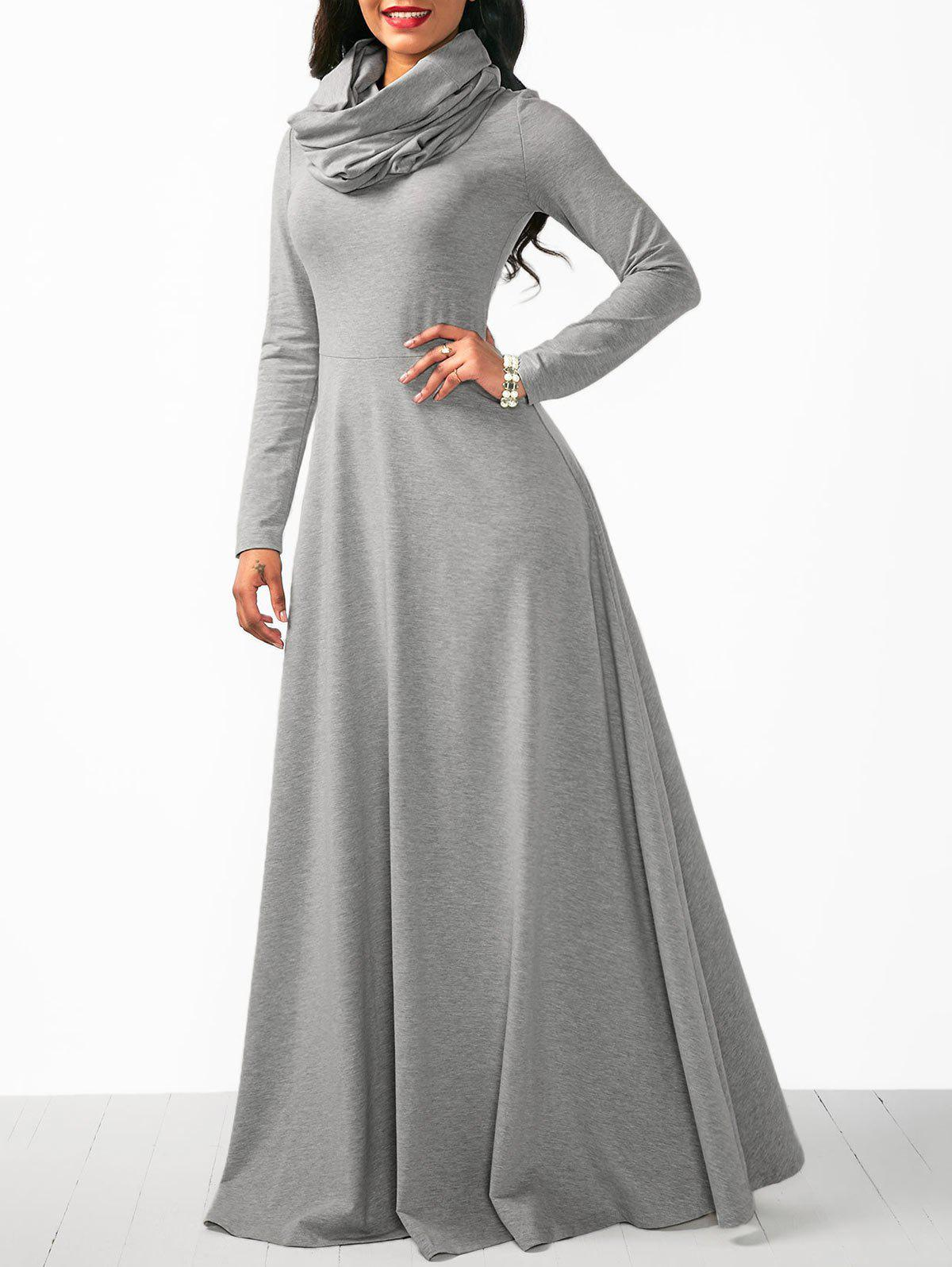 Shop Long Sleeve Cowl Neck Maxi Dress