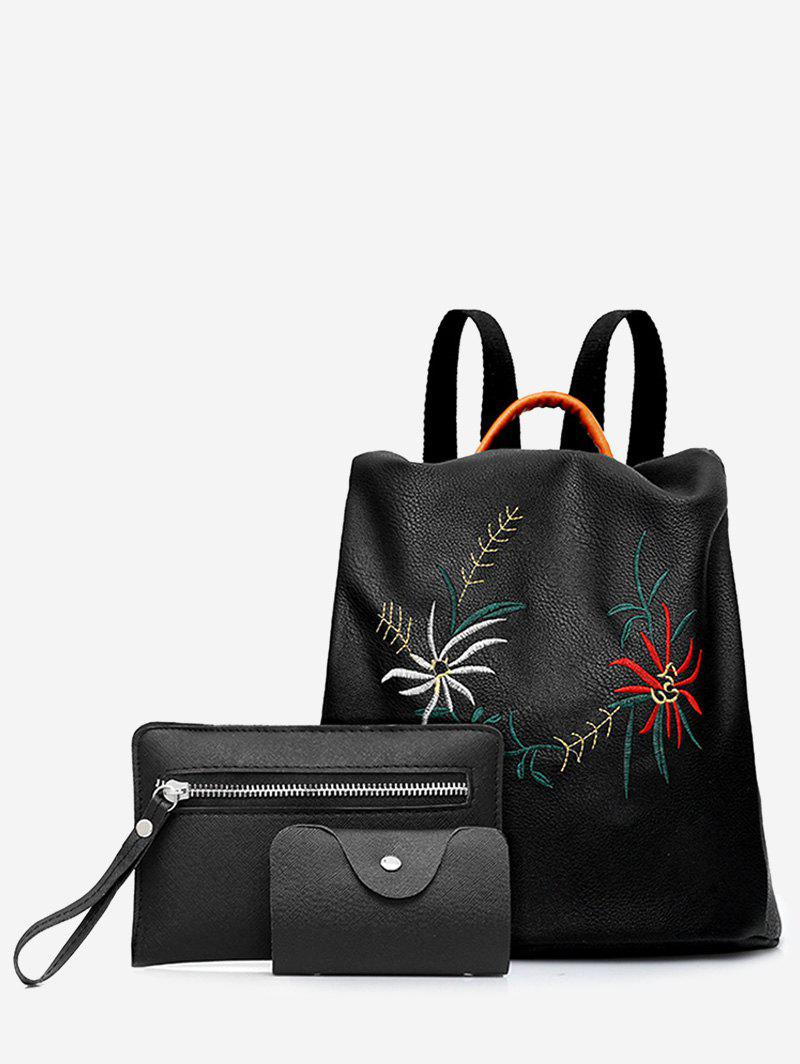 Embroidery 3 Pieces Backpack SetSHOES &amp; BAGS<br><br>Color: BLACK; Handbag Type: Backpack; Style: Fashion; Gender: For Women; Embellishment: Embroidery; Pattern Type: Floral; Handbag Size: Small(20-30cm); Closure Type: Zipper; Occasion: Versatile; Main Material: PU; Weight: 0.6000kg; Package Contents: 1 x Backpack, 1 x Wristlet, 1 x Card Case;