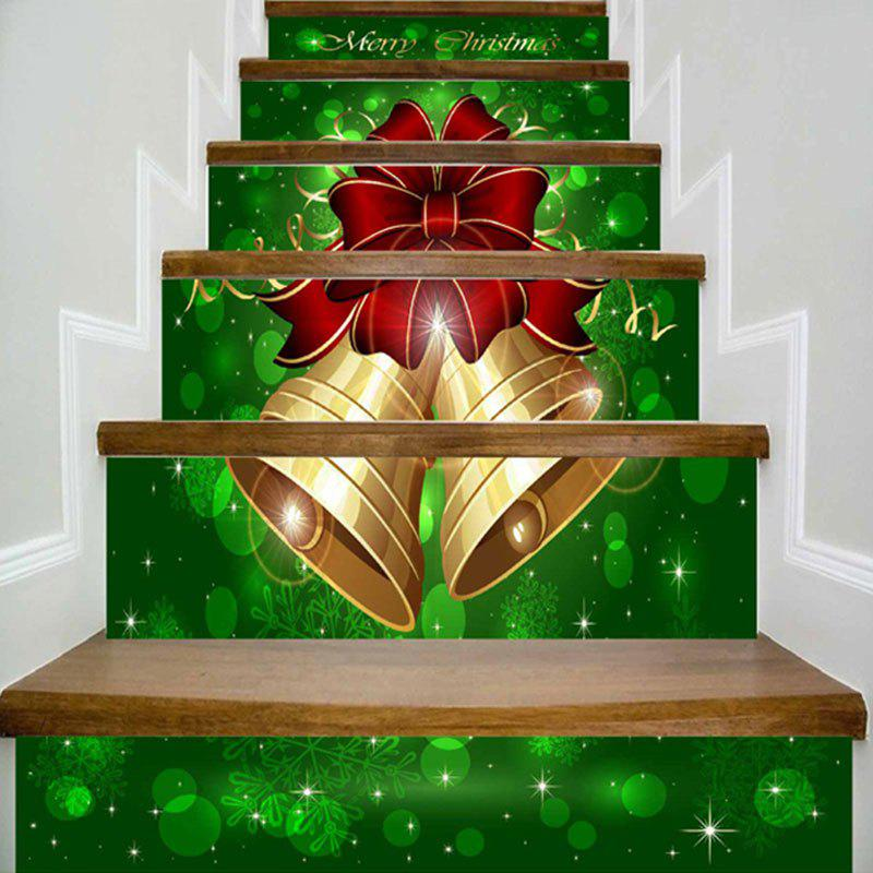 Home Decor Merry Christmas Bells Print DIY Stair StickersHOME<br><br>Size: 100*18CM*6PCS; Color: GREEN; Wall Sticker Type: Plane Wall Stickers; Functions: Stair Stickers; Pattern Type: Print; Material: PVC; Feature: Removable; Weight: 0.4000kg; Package Contents: 6 x Stair Stickers (Pcs);