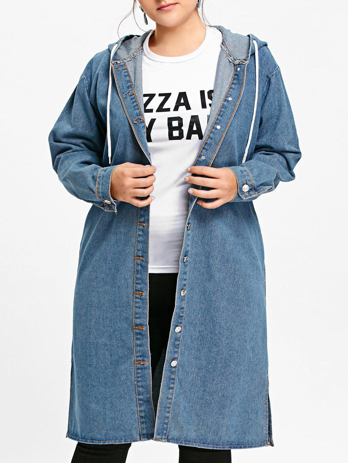 Discount Button Up Plus Size Long Hooded Denim Coat