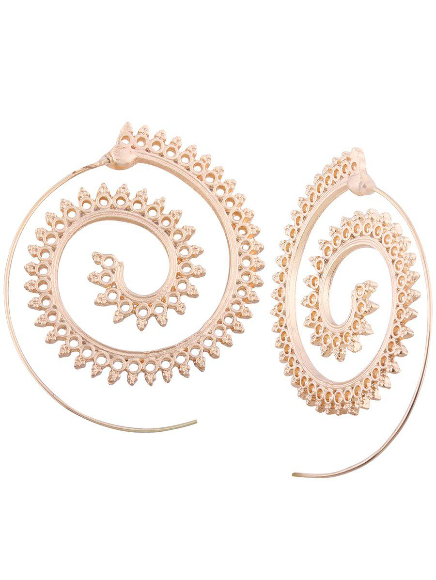 Vintage Hollow Out Embellished Tribal India Spiral Stud EarringsJEWELRY<br><br>Color: GOLDEN; Earring Type: Stud Earrings; Gender: For Girls,For Women; Metal Type: Alloy; Style: Noble and Elegant; Shape/Pattern: Others; Weight: 0.0100kg; Package Contents: 1 x Earring (Pair);