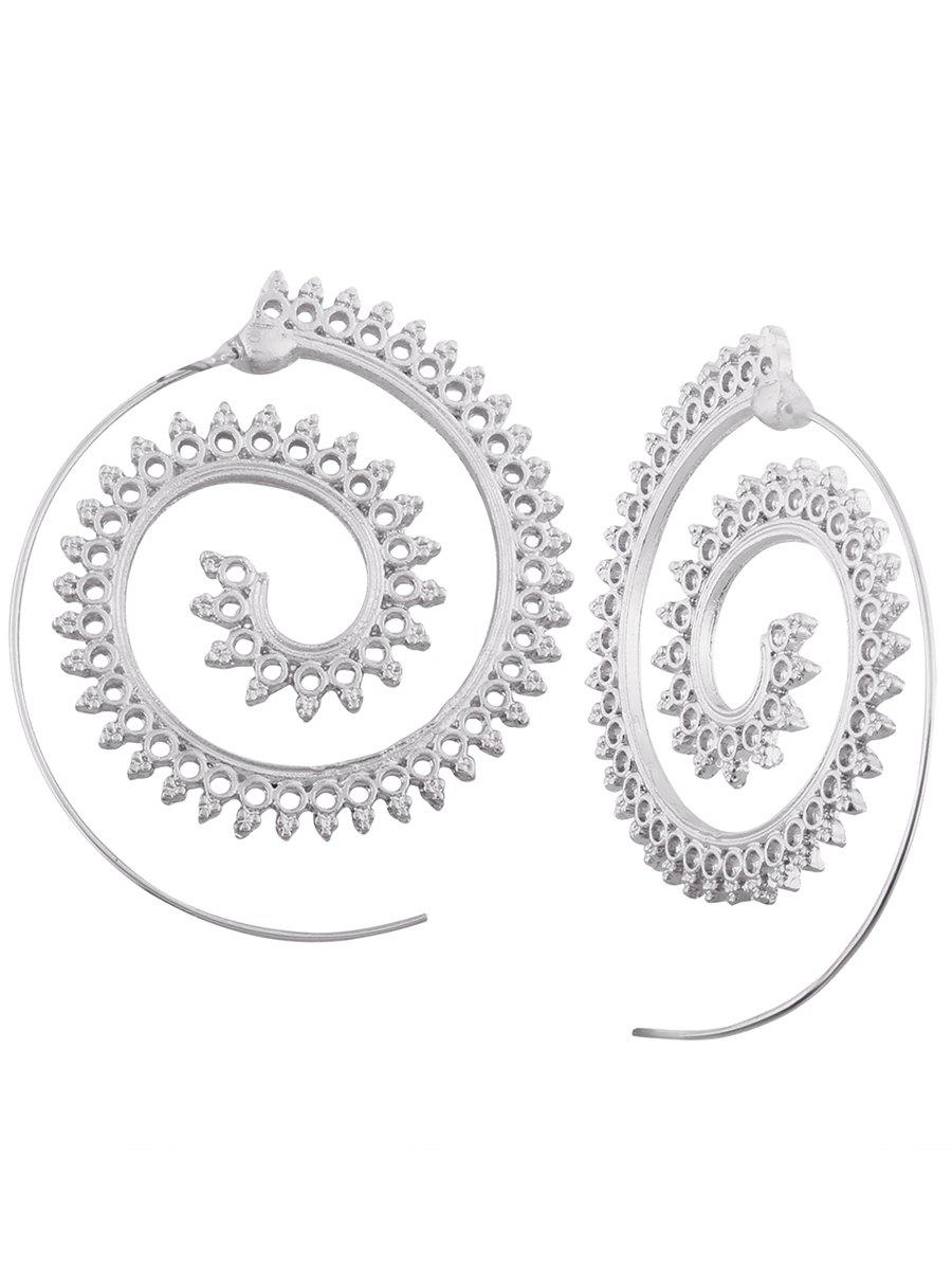 Vintage Hollow Out Embellished Tribal India Spiral Stud EarringsJEWELRY<br><br>Color: SILVER; Earring Type: Stud Earrings; Gender: For Girls,For Women; Metal Type: Alloy; Style: Noble and Elegant; Shape/Pattern: Others; Weight: 0.0100kg; Package Contents: 1 x Earring (Pair);