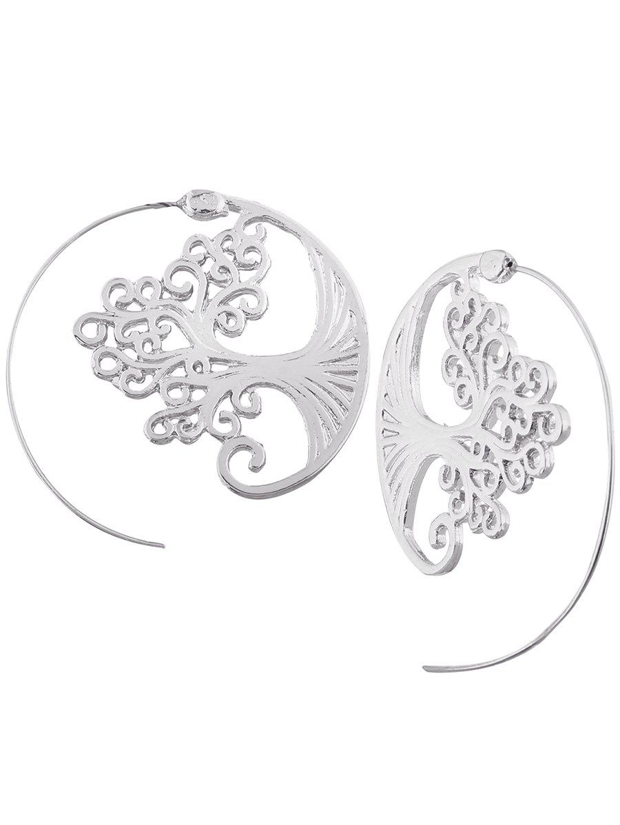 Vintage Hollow Out Spiral Tree Decorated Stud EarringsJEWELRY<br><br>Color: SILVER; Earring Type: Stud Earrings; Gender: For Girls,For Women; Metal Type: Alloy; Style: Noble and Elegant; Shape/Pattern: Others; Weight: 0.0130kg; Package Contents: 1 x Earring (Pair);