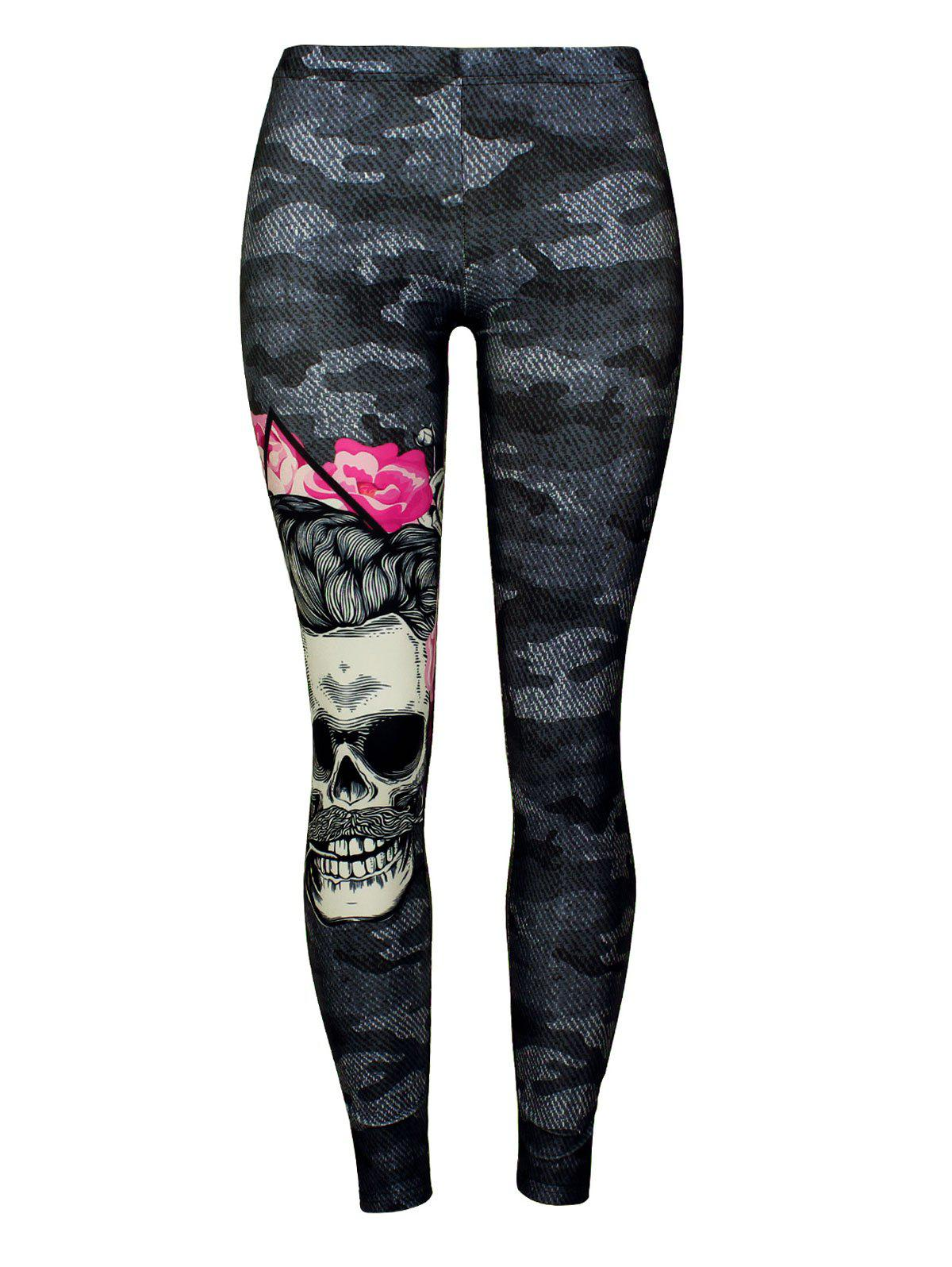Fancy Camo Skull Print Leggings
