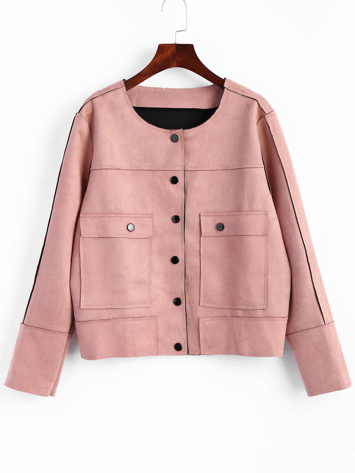 Button Up Plus Size Faux Suede JacketWOMEN<br><br>Size: 5XL; Color: PINK; Clothes Type: Jackets; Material: Polyester,Spandex; Type: Slim; Shirt Length: Short; Sleeve Length: Full; Collar: Round Neck; Pattern Type: Solid; Style: Fashion; Season: Fall,Winter; Weight: 0.5700kg; Package Contents: 1 x Jacket;