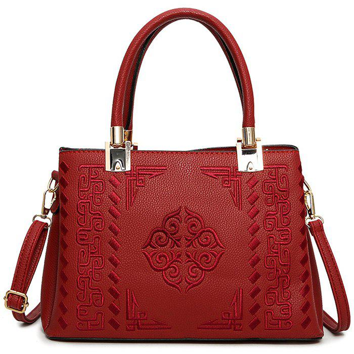Chic PU Leather Embossed Handbag
