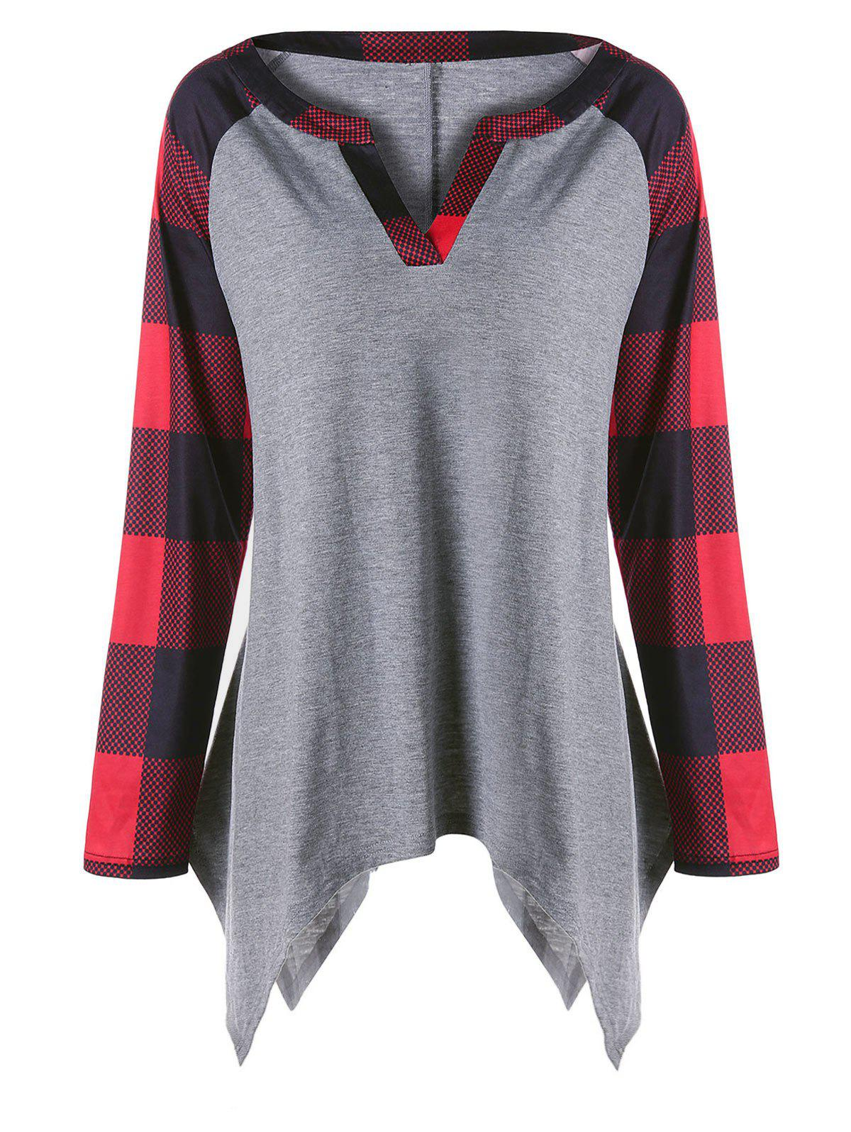 Plus Size Raglan Sleeves Plaid Panel Asymmetric TopWOMEN<br><br>Size: 5XL; Color: GRAY; Material: Polyester,Spandex; Shirt Length: Regular; Sleeve Length: Full; Collar: V-Neck; Style: Casual; Season: Fall,Spring; Sleeve Type: Raglan Sleeve; Pattern Type: Plaid; Weight: 0.3000kg; Package Contents: 1 x T-shirt;