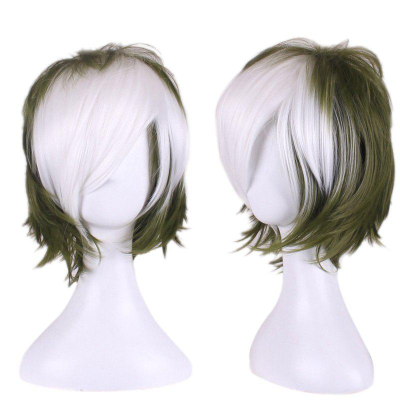 Best Short Side Bang Two Tone Layered Slightly Curly Synthetic Cosplay Wig