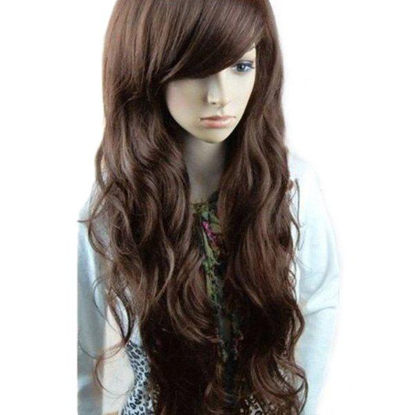 Long Inclined Bang Layered Wavy Synthetic WigHAIR<br><br>Color: DEEP BROWN; Type: Full Wigs; Cap Construction: Capless (Machine-Made); Style: Wavy; Material: Synthetic Hair; Bang Type: Side; Length: Long; Length Size(CM): 65; Weight: 0.2300kg; Package Contents: 1 x Wig;