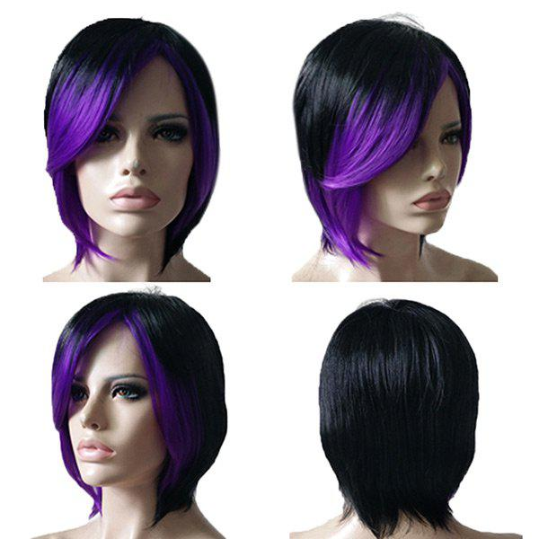 Fancy Inclined Bang Short Straight Colormix Synthetic Wig