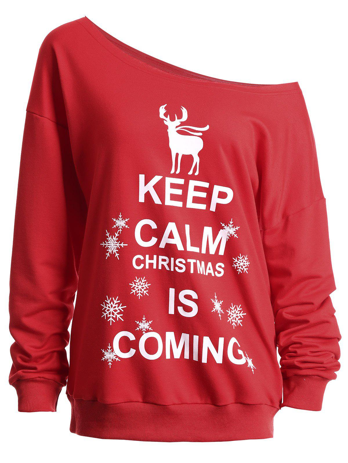 Christmas Keep Calm Skew Neck SweatshirtWOMEN<br><br>Size: XL; Color: RED; Material: Polyester; Shirt Length: Regular; Sleeve Length: Full; Style: Fashion; Pattern Style: Character,Letter,Print; Season: Fall,Spring,Winter; Weight: 0.4100kg; Package Contents: 1 x Sweatshirt;