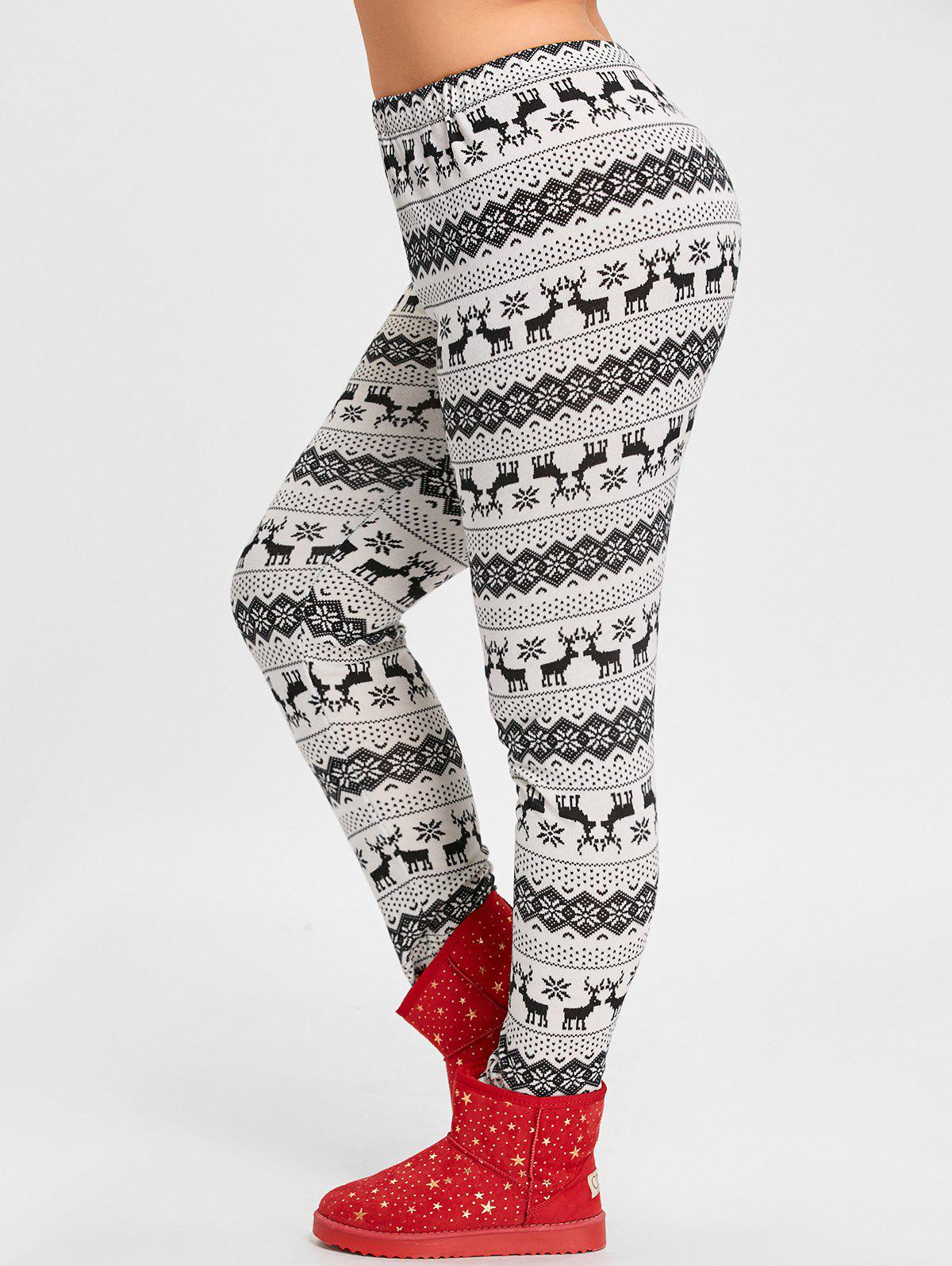 Christmas Snowflake Elk Jacquard Plus Size LeggingsWOMEN<br><br>Size: 2XL; Color: BLACK; Style: Casual; Length: Normal; Material: Acrylic,Polyester; Fit Type: Regular; Waist Type: Mid; Closure Type: Elastic Waist; Pattern Type: Animal; Pant Style: Pencil Pants; With Belt: No; Weight: 0.2850kg; Package Contents: 1 x Leggings;