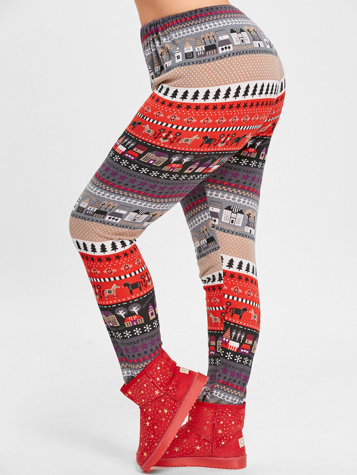 Christmas Tree House Jacquard Plus Size Knitted LeggingsWOMEN<br><br>Size: 5XL; Color: RED; Style: Casual; Length: Normal; Material: Acrylic,Polyester; Fit Type: Regular; Waist Type: Mid; Closure Type: Elastic Waist; Pattern Type: Animal; Pant Style: Pencil Pants; With Belt: No; Weight: 0.2850kg; Package Contents: 1 x Leggings;