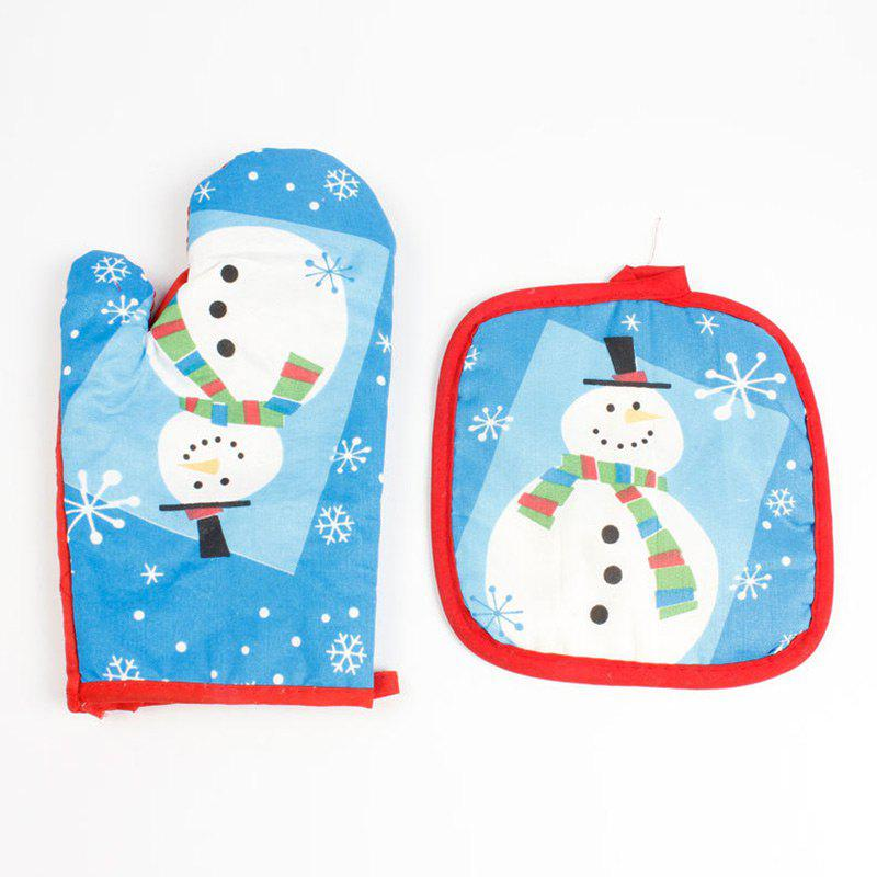 Online Christmas Snowman Pattern Oven Glove and Pad
